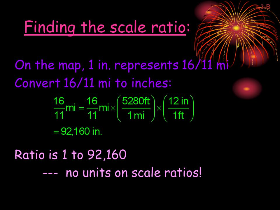 Finding the scale ratio: On the map, 1 in.