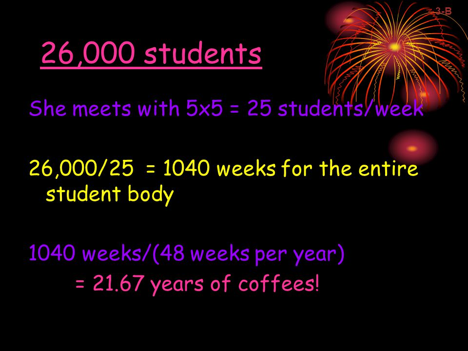 26,000 students She meets with 5x5 = 25 students/week 26,000/25 = 1040 weeks for the entire student body 1040 weeks/(48 weeks per year) = 21.67 years of coffees.