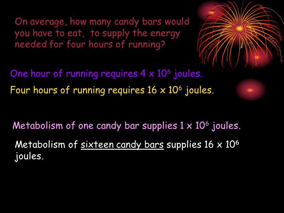 On average, how many candy bars would you have to eat, to supply the energy needed for four hours of running.