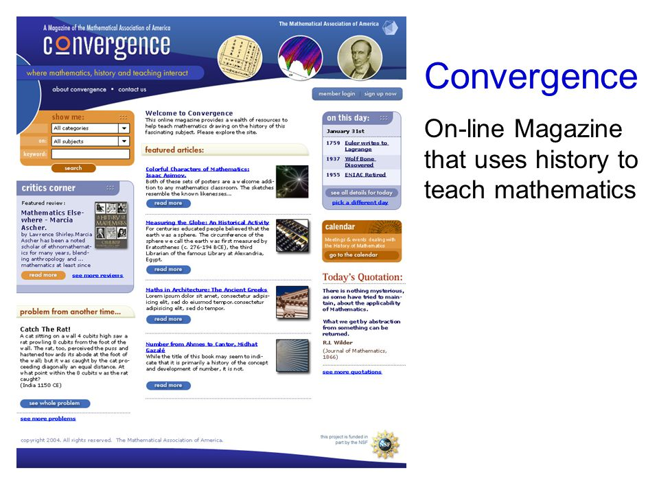 Convergence On-line Magazine that uses history to teach mathematics