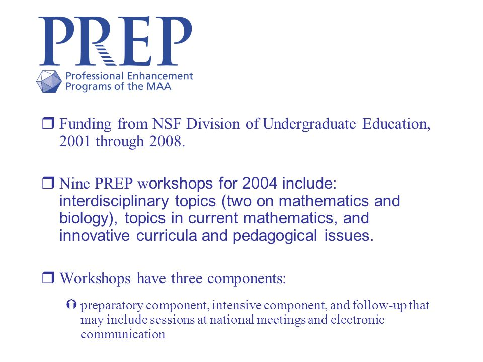 rFunding from NSF Division of Undergraduate Education, 2001 through 2008.
