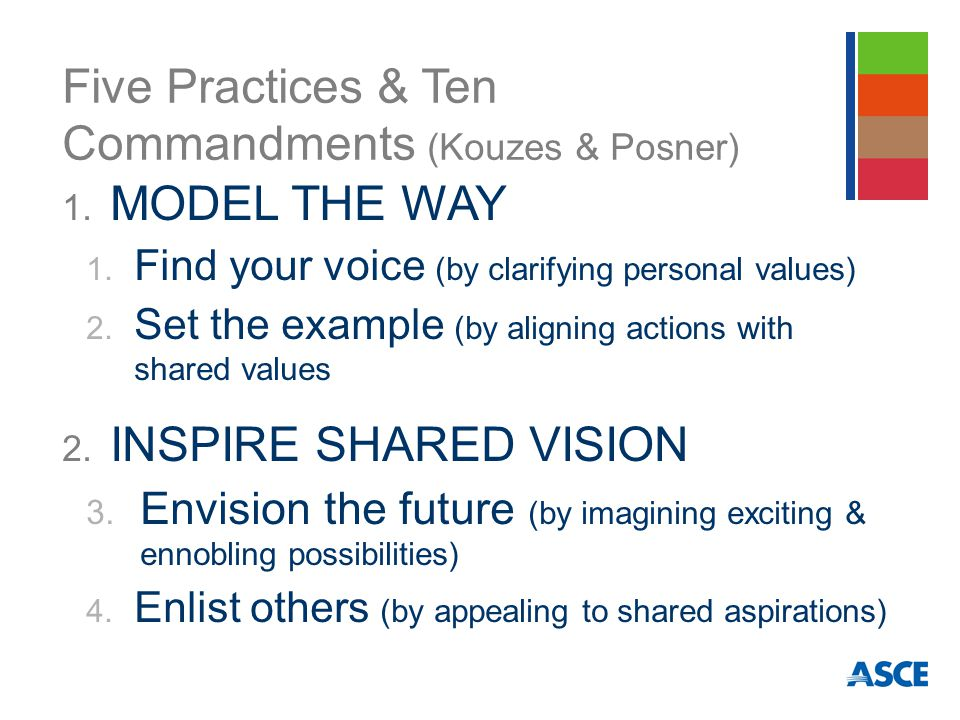 Five Practices & Ten Commandments (Kouzes & Posner) 1. MODEL THE WAY 1. Find your voice (by clarifying personal values) 2. Set the example (by alignin
