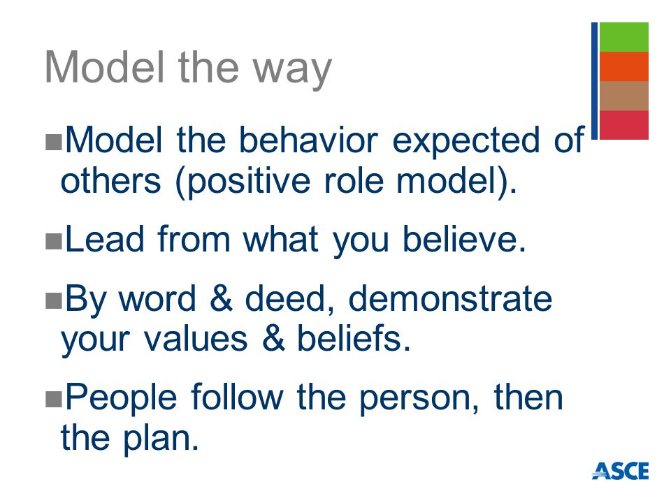 Model the way Model the behavior expected of others (positive role model).