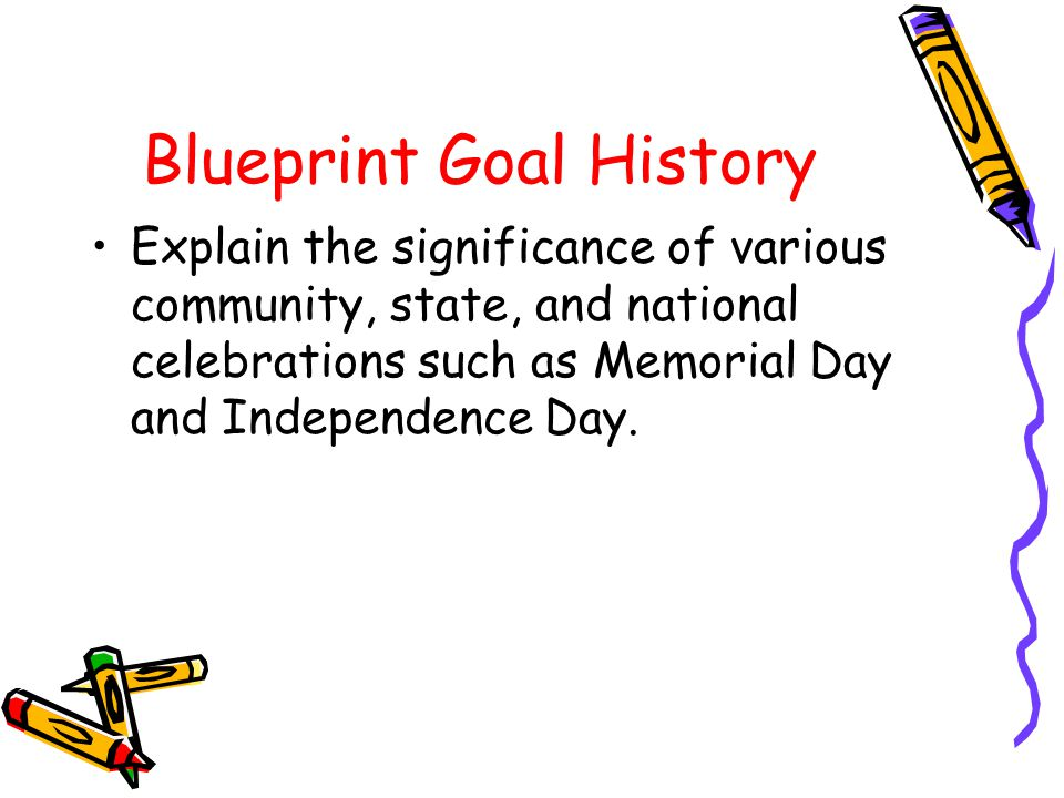 Blueprint Goal History Explain the significance of various community, state, and national celebrations such as Memorial Day and Independence Day.
