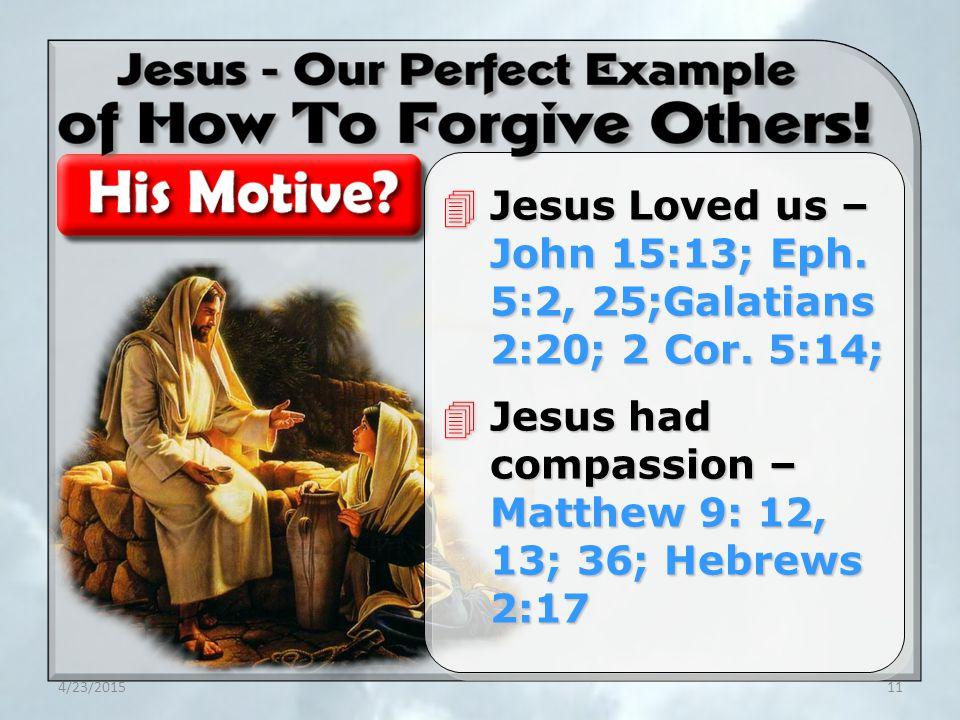 4/23/201511 4Jesus Loved us – John 15:13; Eph. 5:2, 25;Galatians 2:20; 2 Cor.
