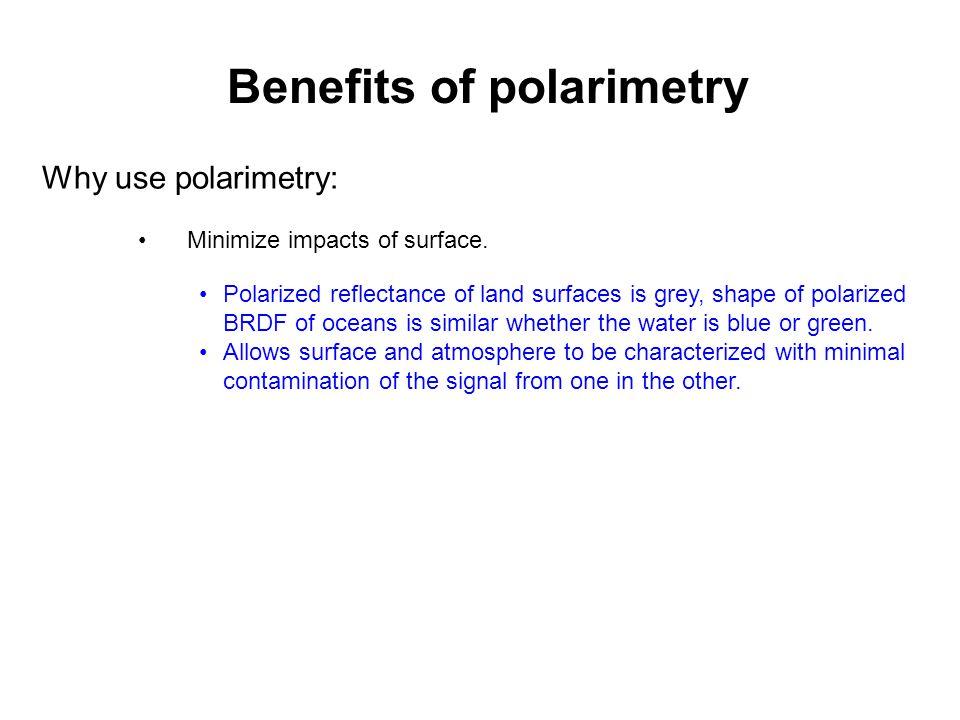 Why use polarimetry: Minimize impacts of surface.