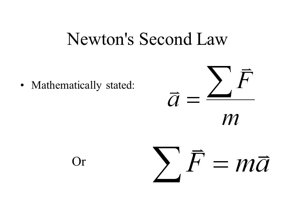 Newton's Second Law Mathematically stated: Or