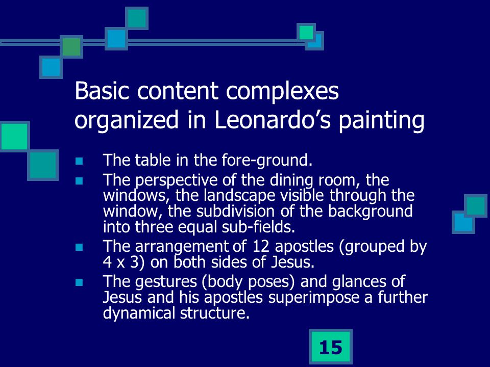 15 Basic content complexes organized in Leonardo's painting The table in the fore-ground.