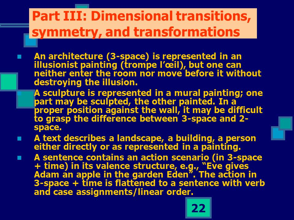 22 Part III: Dimensional transitions, symmetry, and transformations An architecture (3-space) is represented in an illusionist painting (trompe l'œil), but one can neither enter the room nor move before it without destroying the illusion.
