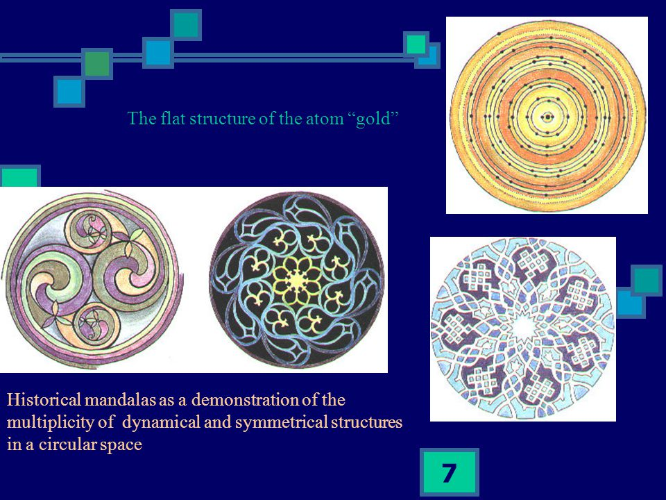 7 Historical mandalas as a demonstration of the multiplicity of dynamical and symmetrical structures in a circular space The flat structure of the atom gold