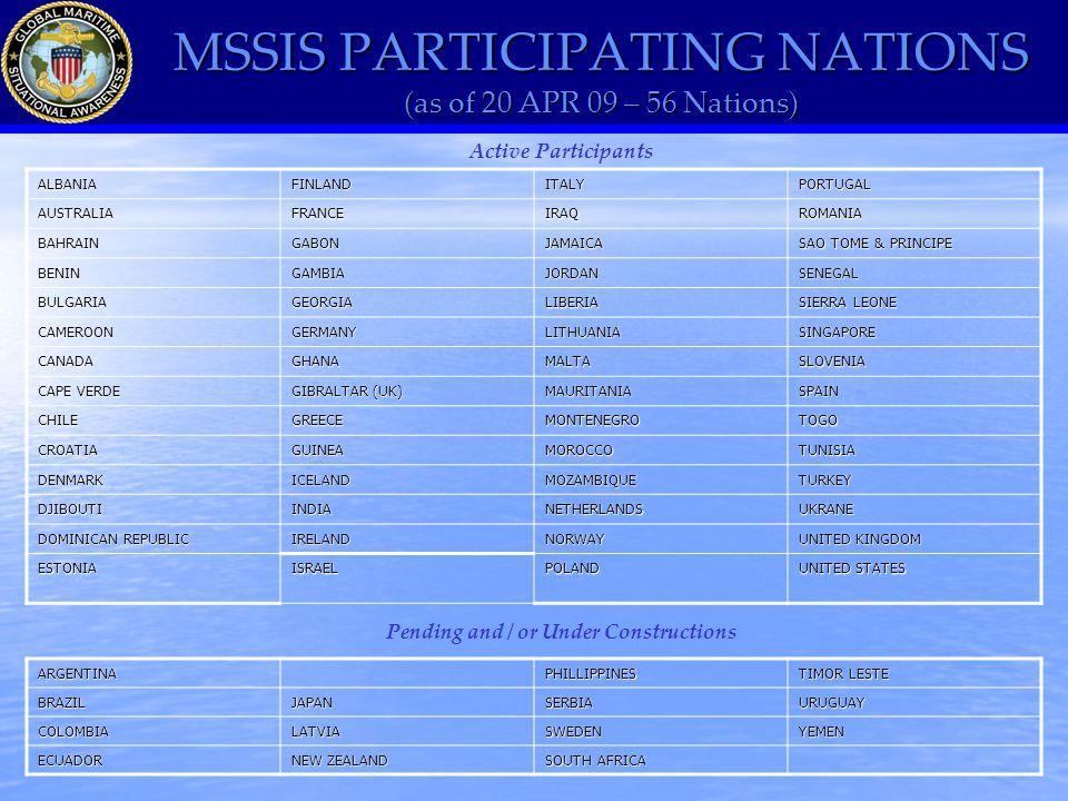 MSSIS PARTICIPATING NATIONS (as of 20 APR 09 – 56 Nations) Active ParticipantsALBANIAFINLANDITALYPORTUGALAUSTRALIAFRANCEIRAQROMANIA BAHRAINGABONJAMAICA SAO TOME & PRINCIPE BENINGAMBIAJORDANSENEGAL BULGARIAGEORGIALIBERIA SIERRA LEONE CAMEROONGERMANYLITHUANIASINGAPORE CANADAGHANAMALTASLOVENIA CAPE VERDE GIBRALTAR (UK) MAURITANIASPAIN CHILEGREECEMONTENEGROTOGO CROATIAGUINEAMOROCCOTUNISIA DENMARKICELANDMOZAMBIQUETURKEY DJIBOUTIINDIANETHERLANDSUKRANE DOMINICAN REPUBLIC IRELANDNORWAY UNITED KINGDOM ESTONIAISRAELPOLAND UNITED STATES ARGENTINAPHILLIPPINES TIMOR LESTE BRAZILJAPANSERBIAURUGUAY COLOMBIALATVIASWEDENYEMEN ECUADOR NEW ZEALAND SOUTH AFRICA Pending and / or Under Constructions