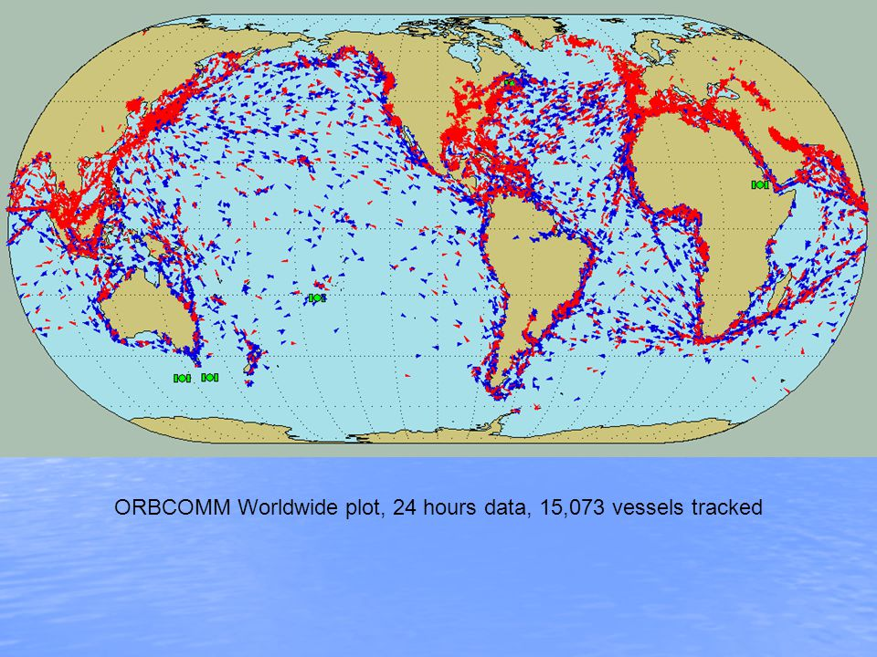 ORBCOMM Worldwide plot, 24 hours data, 15,073 vessels tracked