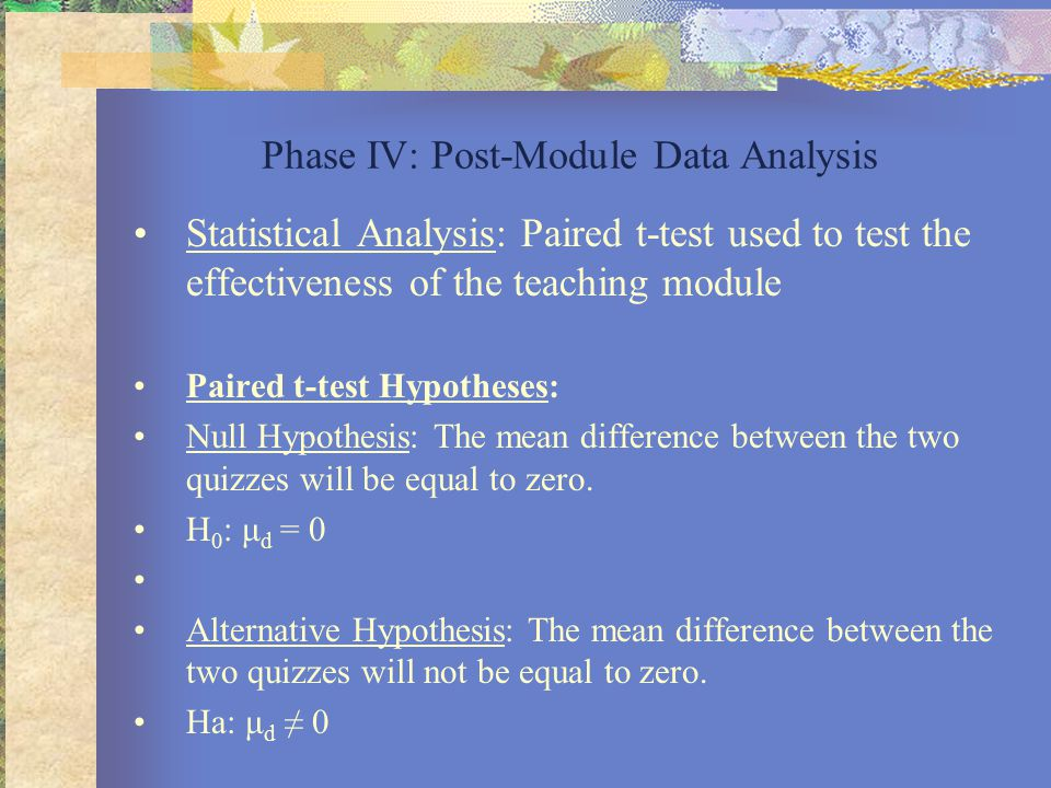 Phase IV: Post-Module Data Analysis Statistical Analysis: Paired t-test used to test the effectiveness of the teaching module Paired t-test Hypotheses: Null Hypothesis: The mean difference between the two quizzes will be equal to zero.