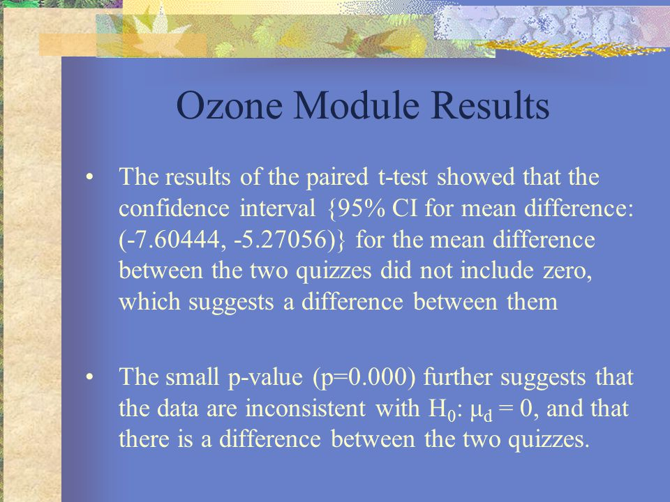 Ozone Module Results The results of the paired t-test showed that the confidence interval {95% CI for mean difference: (-7.60444, -5.27056)} for the mean difference between the two quizzes did not include zero, which suggests a difference between them The small p-value (p=0.000) further suggests that the data are inconsistent with H 0 : μ d = 0, and that there is a difference between the two quizzes.
