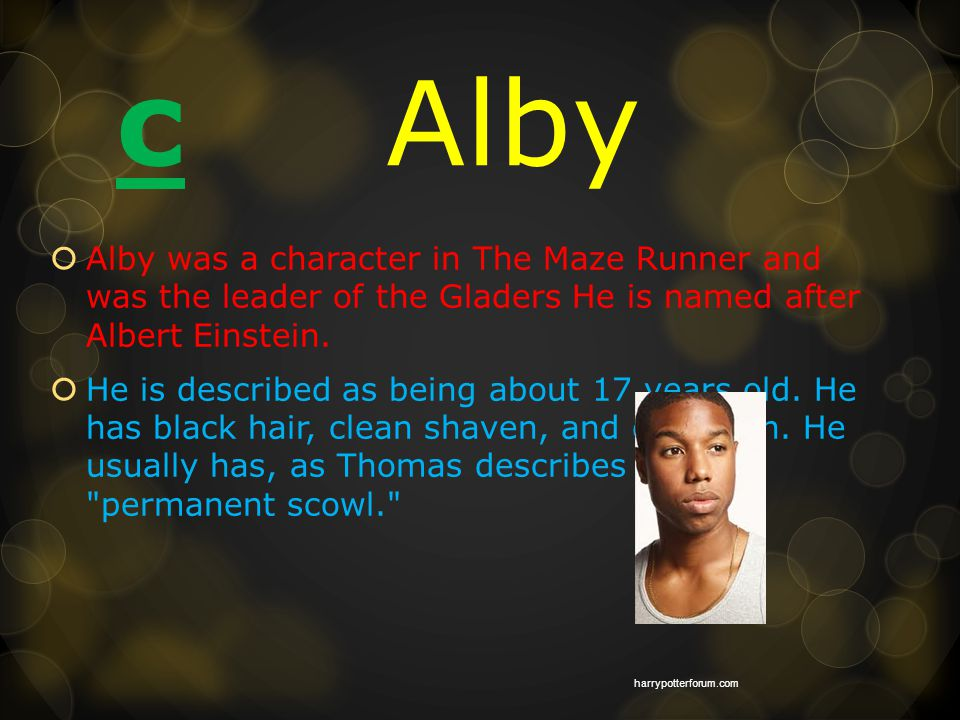c Alby  Alby was a character in The Maze Runner and was the leader of the Gladers He is named after Albert Einstein.