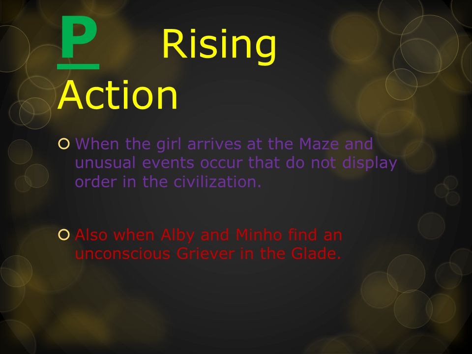 P Rising Action  When the girl arrives at the Maze and unusual events occur that do not display order in the civilization.