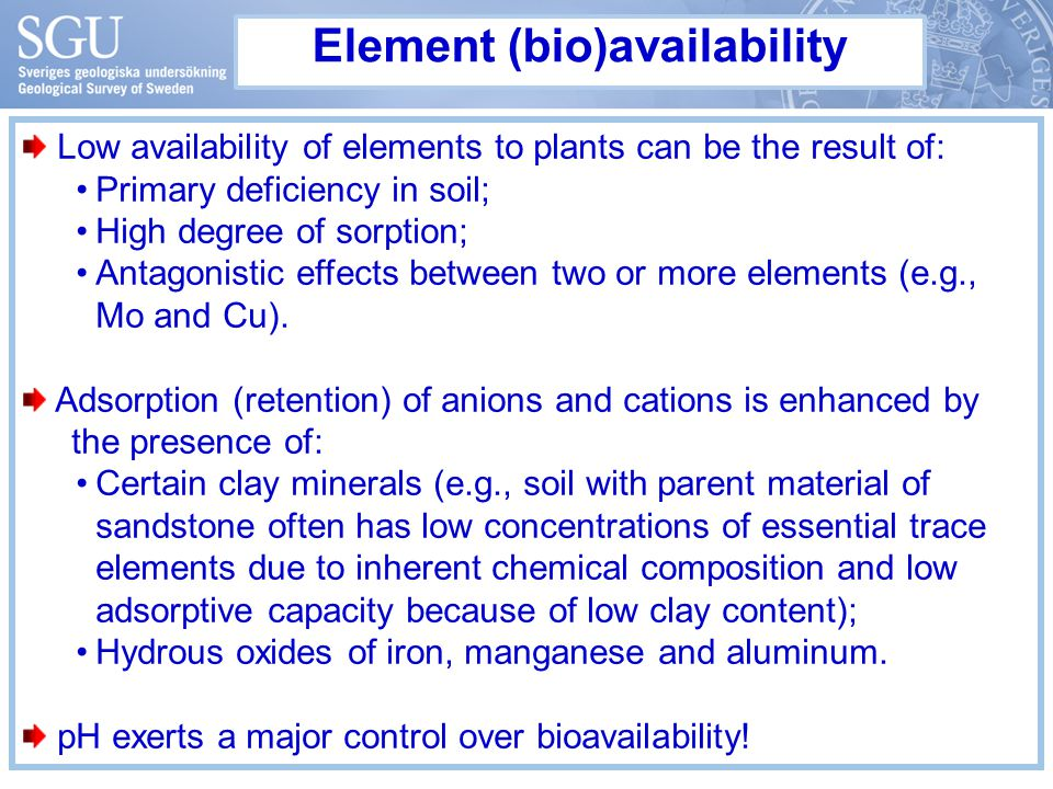 Element (bio)availability Low availability of elements to plants can be the result of: Primary deficiency in soil; High degree of sorption; Antagonistic effects between two or more elements (e.g., Mo and Cu).
