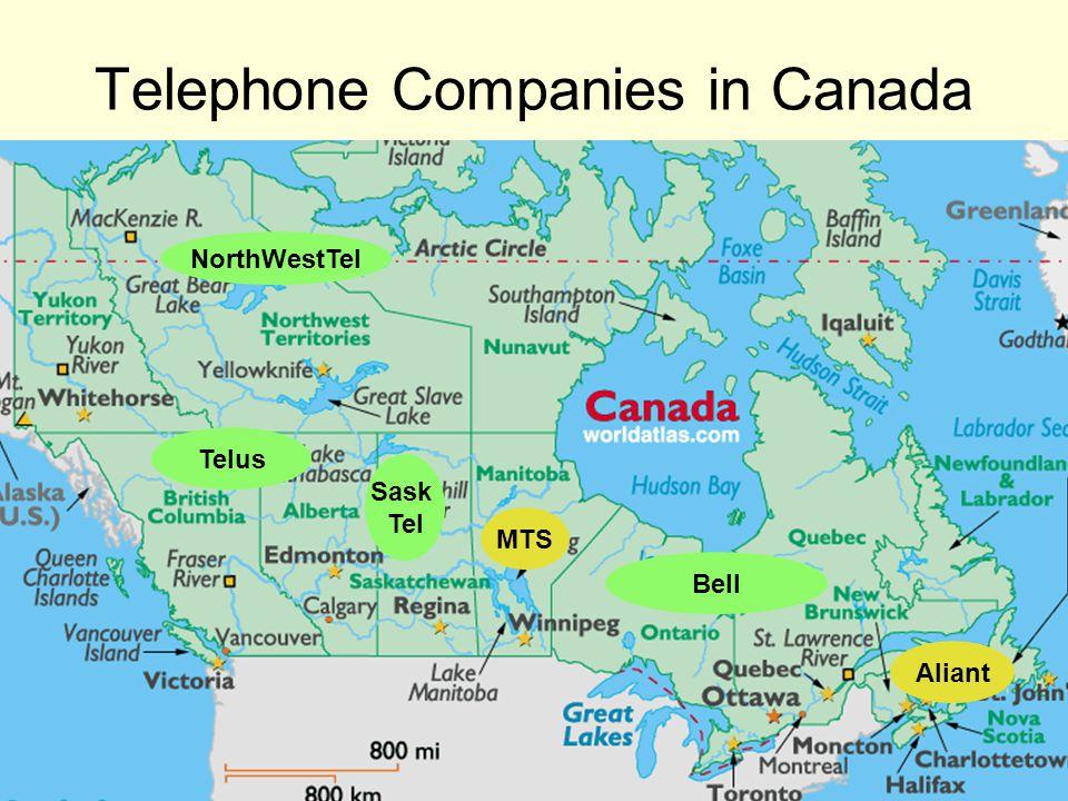 Telus Sask Tel MTS Bell Aliant NorthWestTel Telephone Companies in Canada