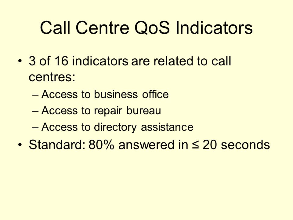 Call Centre QoS Indicators 3 of 16 indicators are related to call centres: –Access to business office –Access to repair bureau –Access to directory assistance Standard: 80% answered in ≤ 20 seconds