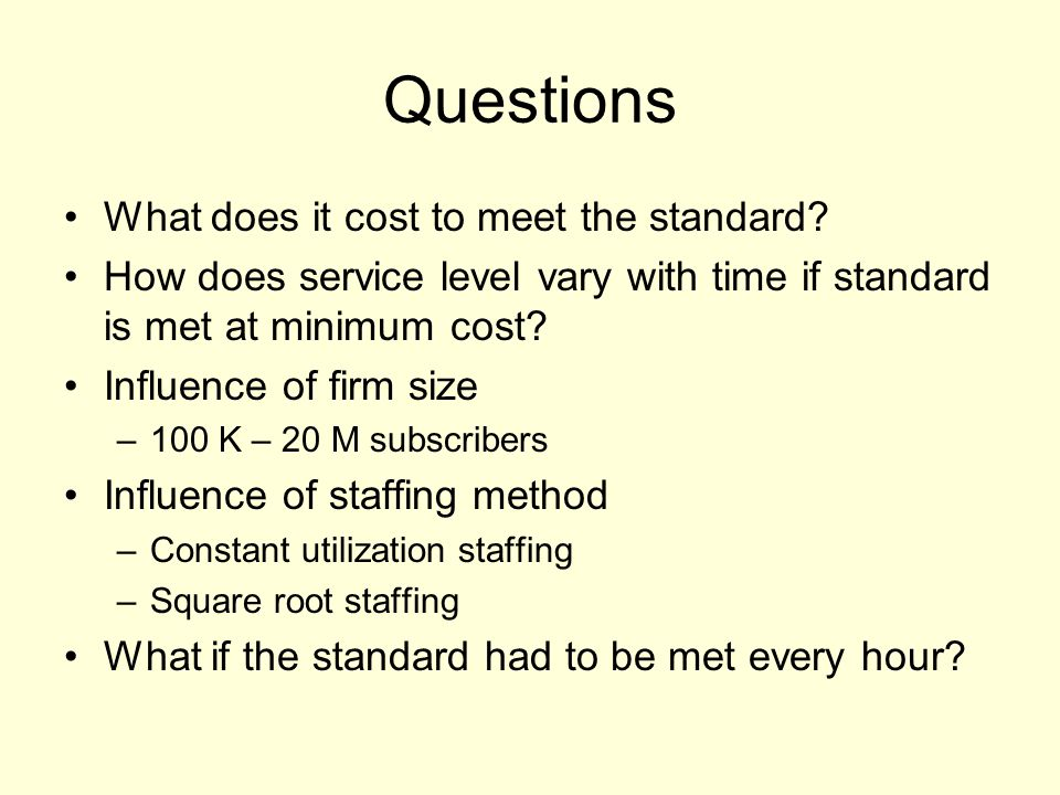 Questions What does it cost to meet the standard.