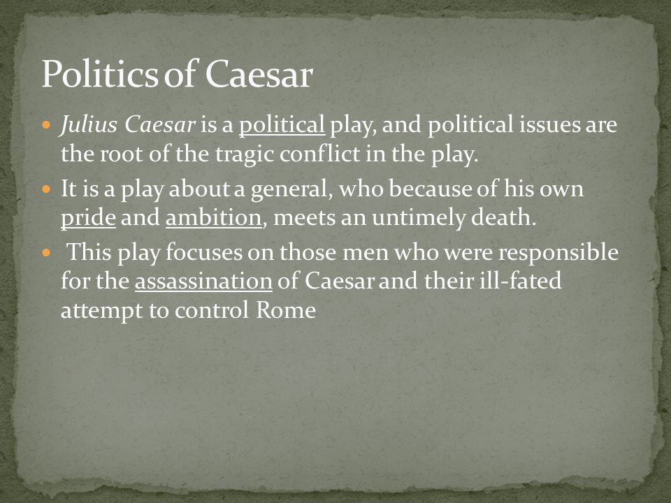 Julius Caesar is a political play, and political issues are the root of the tragic conflict in the play.