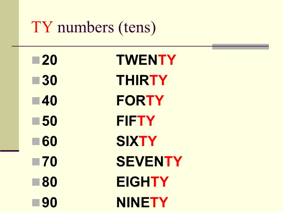 TY numbers (tens) 20TWENTY 30THIRTY 40FORTY 50FIFTY 60SIXTY 70SEVENTY 80EIGHTY 90NINETY