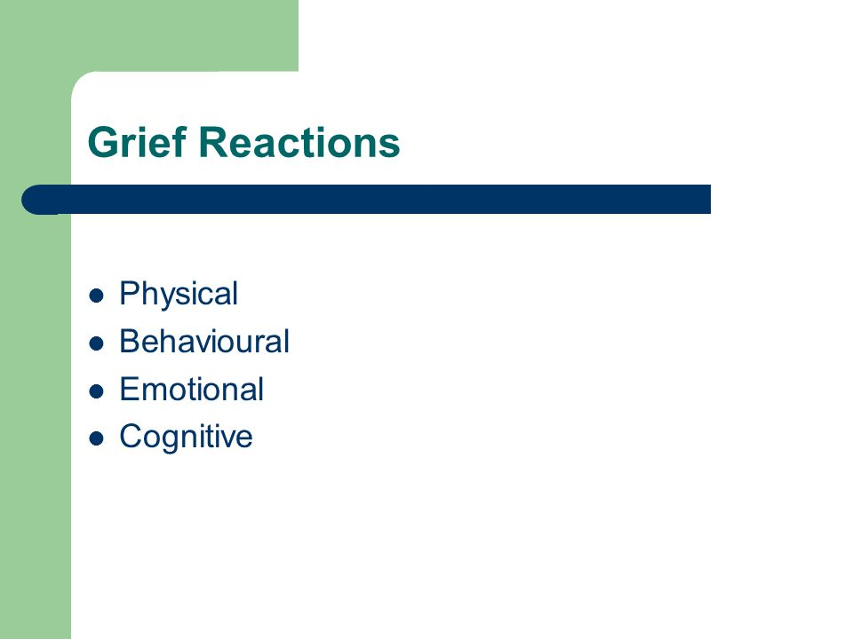 Grief Reactions Physical Behavioural Emotional Cognitive