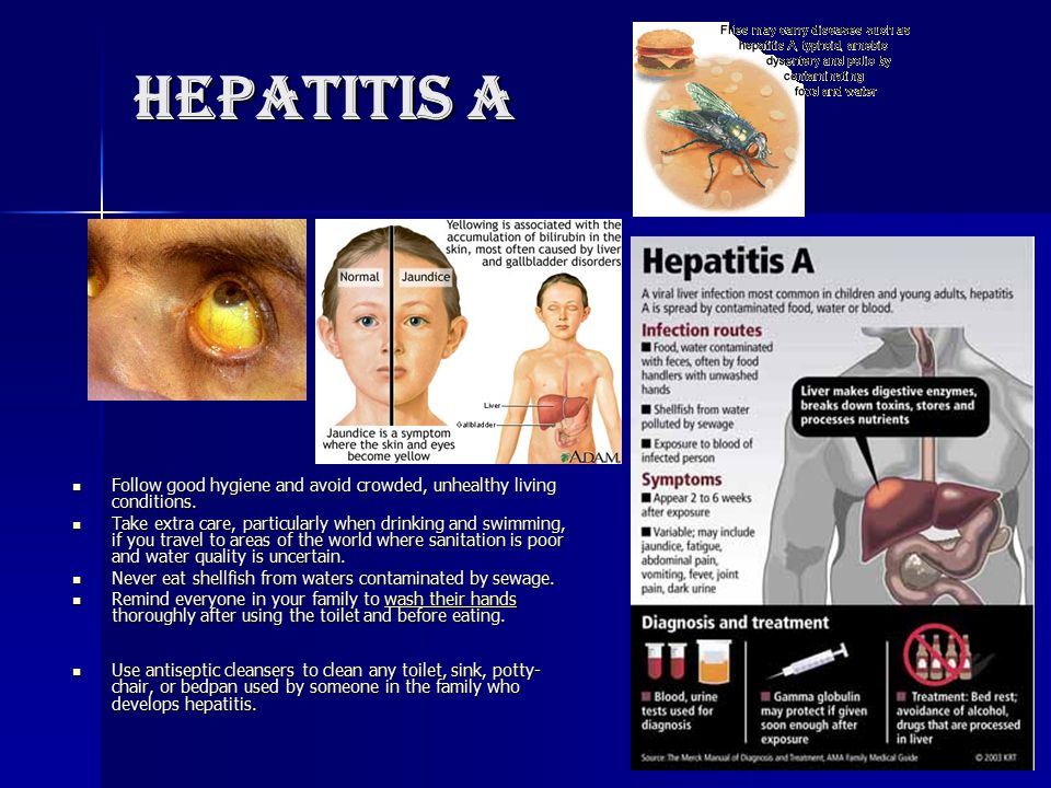Hepatitis A Follow good hygiene and avoid crowded, unhealthy living conditions. Follow good hygiene and avoid crowded, unhealthy living conditions. Ta