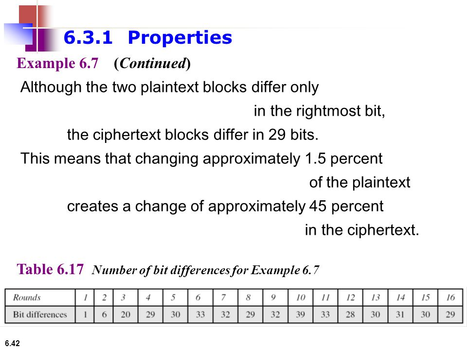 6.42 Example 6.7 Although the two plaintext blocks differ only in the rightmost bit, the ciphertext blocks differ in 29 bits. This means that changing