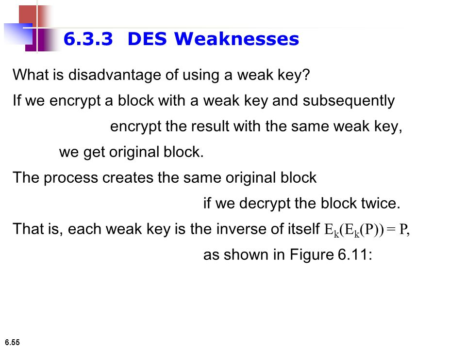 6.55 What is disadvantage of using a weak key? If we encrypt a block with a weak key and subsequently encrypt the result with the same weak key, we ge