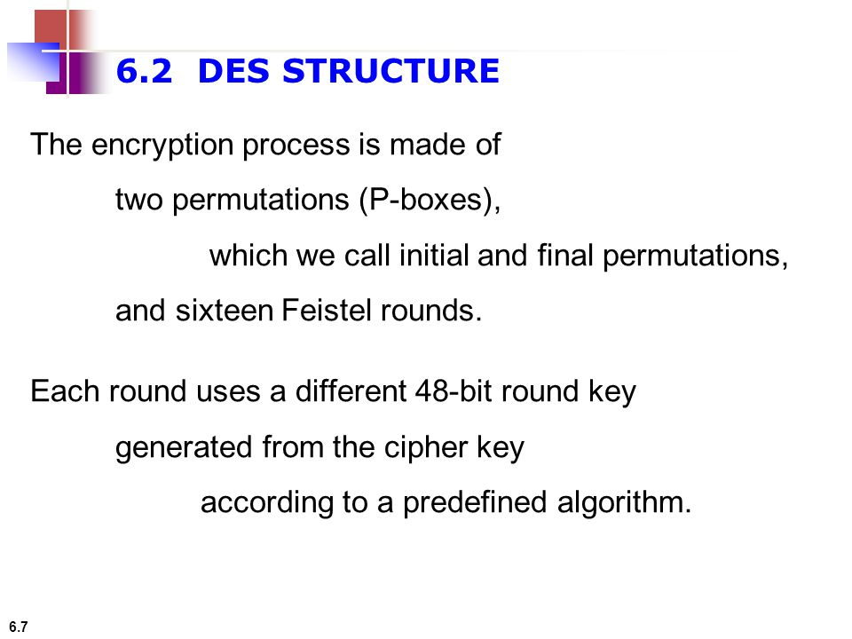 6.7 6.2 DES STRUCTURE The encryption process is made of two permutations (P-boxes), which we call initial and final permutations, and sixteen Feistel