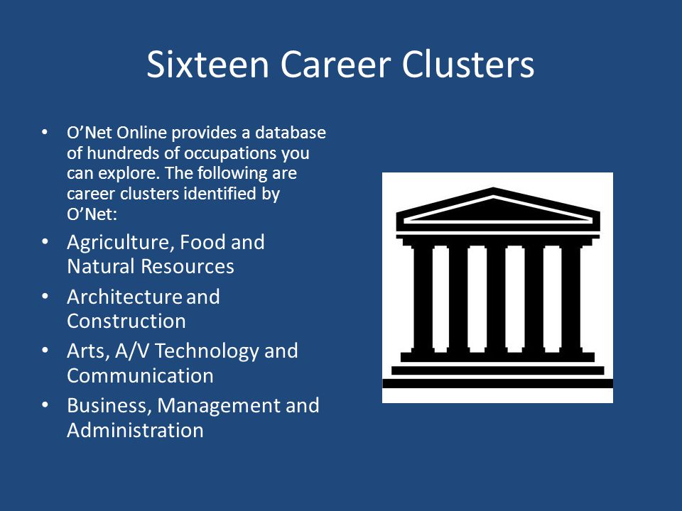 Sixteen Career Clusters (Cont'd) Education and Training Finance Government and Public Administration Health service Hospitality and Tourism Human Services