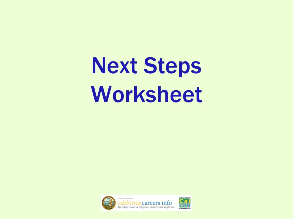 Next Steps Worksheet
