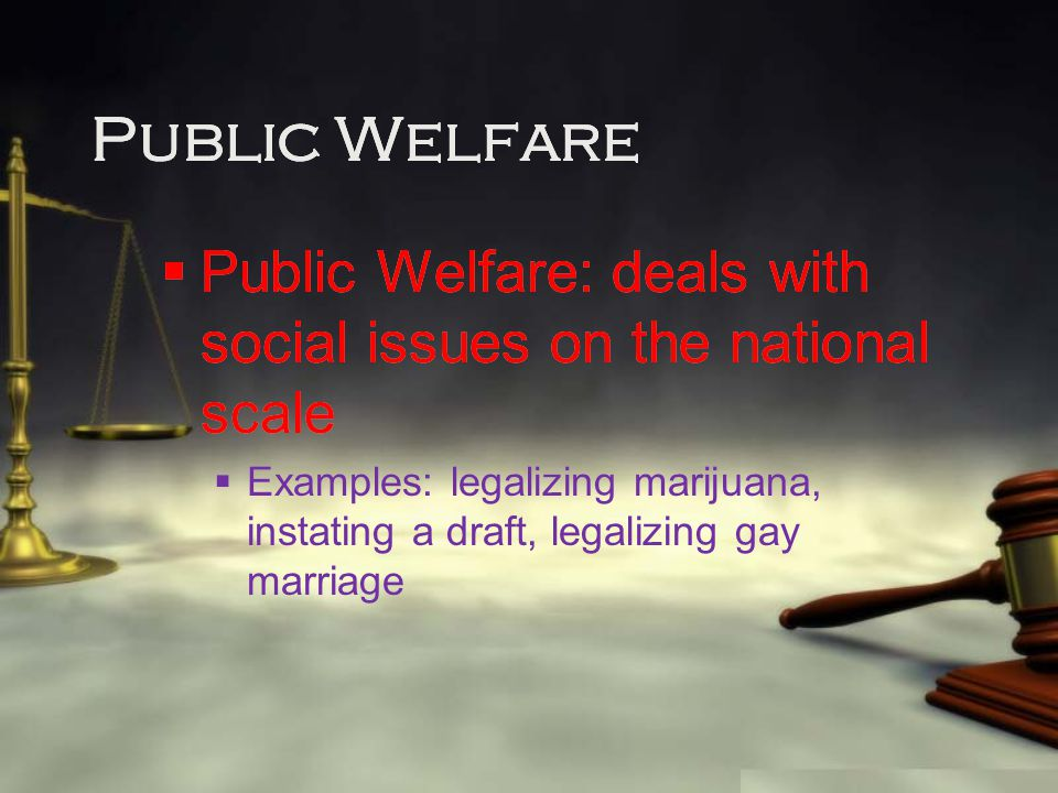 Public Welfare  Public Welfare: deals with social issues on the national scale  Examples: legalizing marijuana, instating a draft, legalizing gay ma