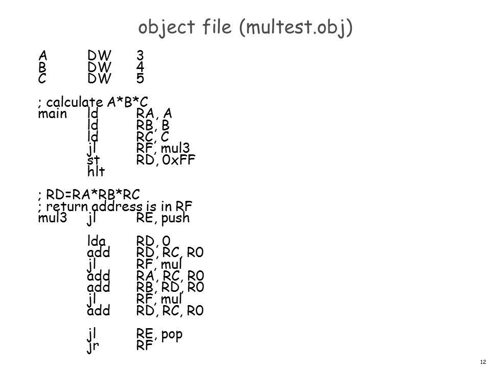 12 object file (multest.obj) ADW3 BDW4 CDW5 ; calculate A*B*C mainldRA, A ldRB, B ldRC, C jlRF, mul3 stRD, 0xFF hlt ; RD=RA*RB*RC ; return address is in RF mul3jlRE, push ldaRD, 0 addRD, RC, R0 jlRF, mul addRA, RC, R0 addRB, RD, R0 jlRF, mul addRD, RC, R0 jlRE, pop jrRF