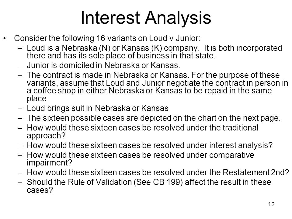 12 Interest Analysis Consider the following 16 variants on Loud v Junior: –Loud is a Nebraska (N) or Kansas (K) company. It is both incorporated there