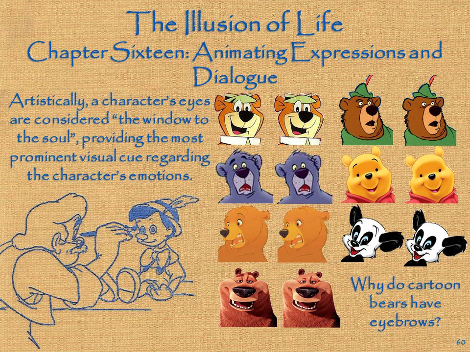 The Illusion of Life Chapter Sixteen: Animating Expressions and Dialogue 59 The character moods being expressed in the face must be fortified via the positioning of various other body parts.