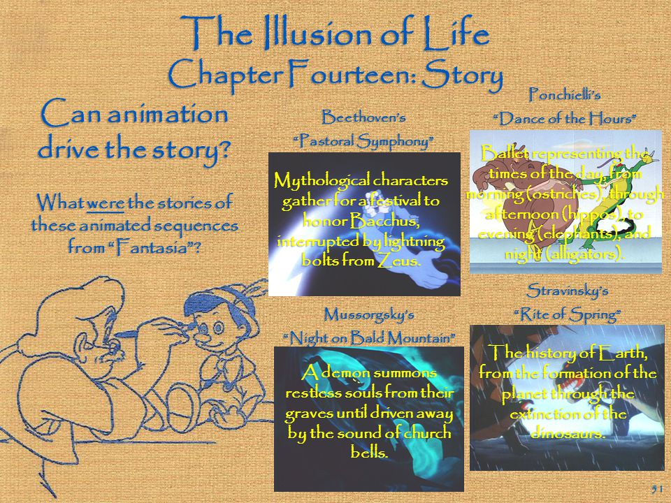 The Illusion of Life Chapter Fourteen: Story 50 Extended explanations by a narrator or by characters can seriously damage the flow of an animated film