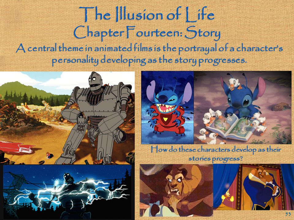 "The Illusion of Life Chapter Fourteen: Story 52 True or False: ""Main characters need story arcs; supporting characters get by on the strength of their"