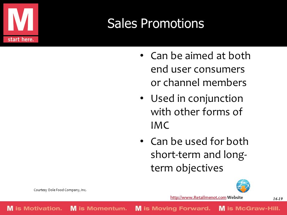 Sales Promotions Can be aimed at both end user consumers or channel members Used in conjunction with other forms of IMC Can be used for both short-term and long- term objectives http://www.Retailmenot.comhttp://www.Retailmenot.com Website Courtesy Dole Food Company, Inc.
