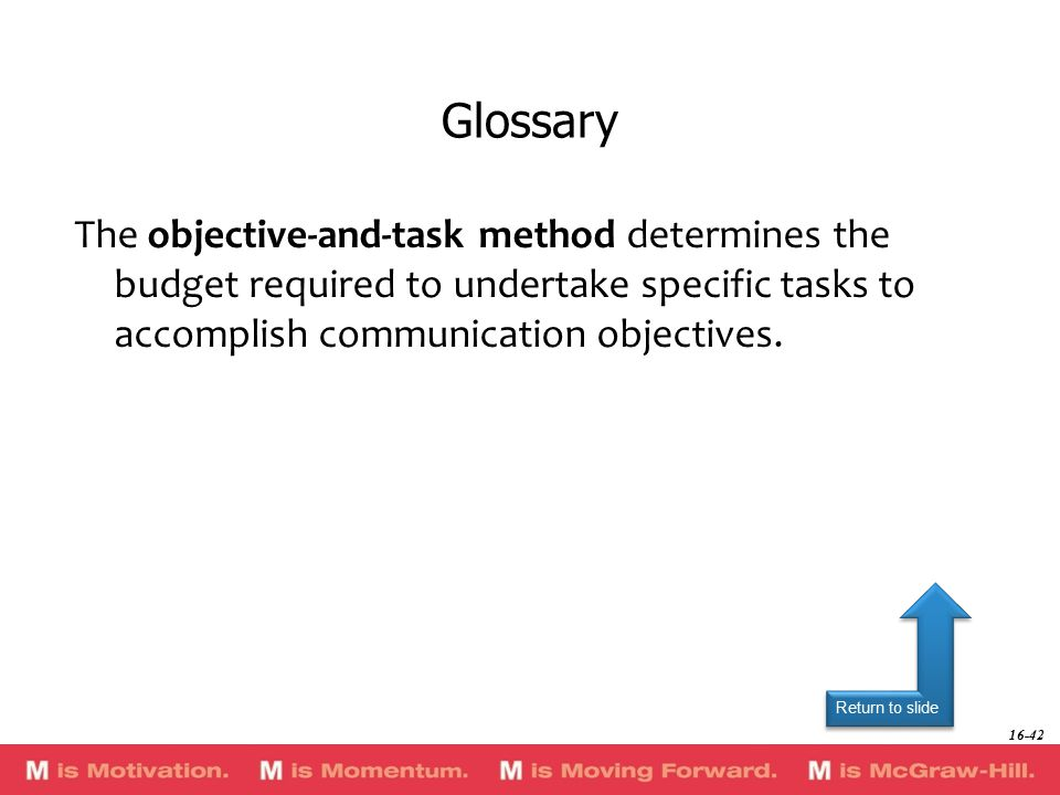 Return to slide The objective-and-task method determines the budget required to undertake specific tasks to accomplish communication objectives.