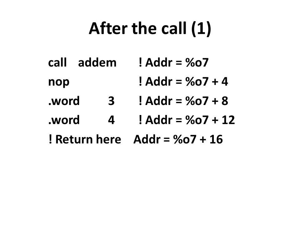 After the call (1) calladdem. Addr = %o7 nop. Addr = %o7 + 4.word3.
