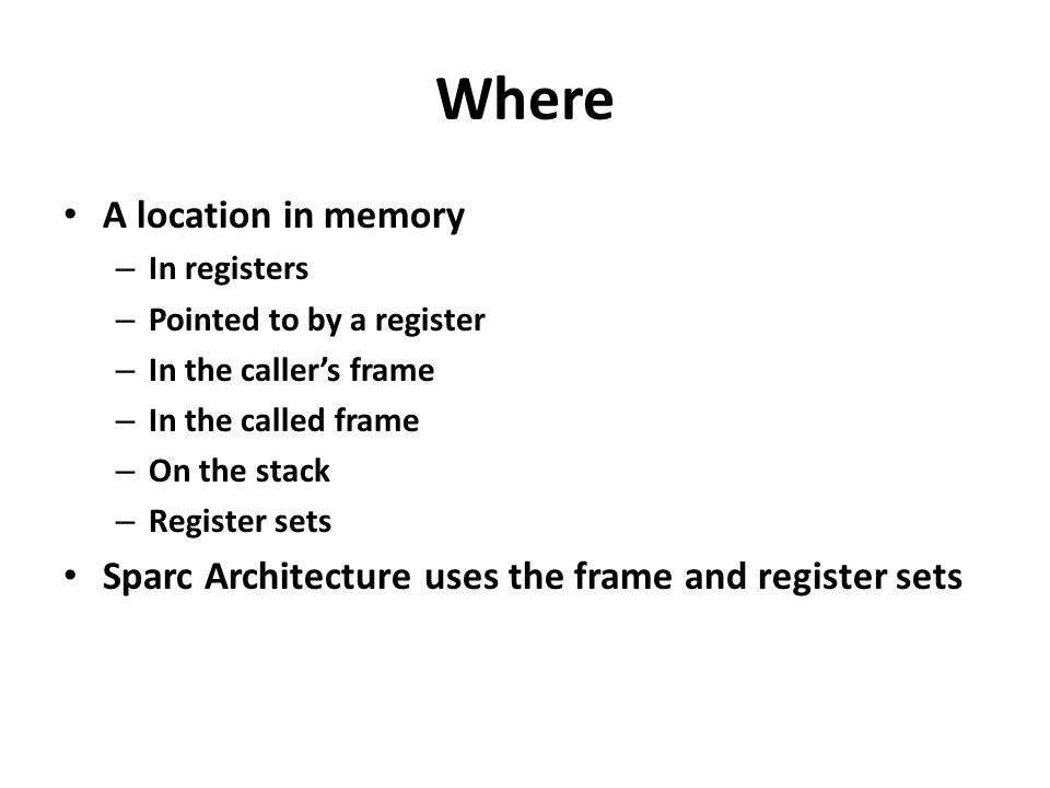 Sparc Register File In the Sparc architecture there are a minimum of 128 registers and 8 global registers These are grouped into 8 global registers and 24 mapped programmer registers The save instruction changes the register mapping to a new set The restore instruction restores the old set.