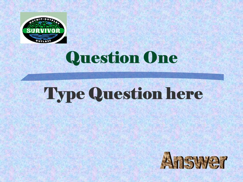 Question Twenty-One Type Question here