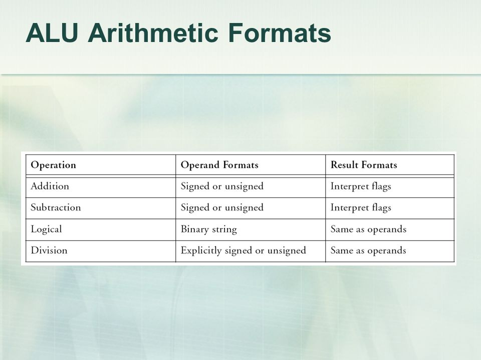 ALU Arithmetic Formats
