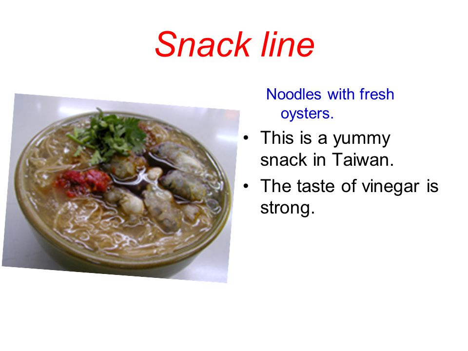 Snack line Noodles with fresh oysters.This is a yummy snack in Taiwan.