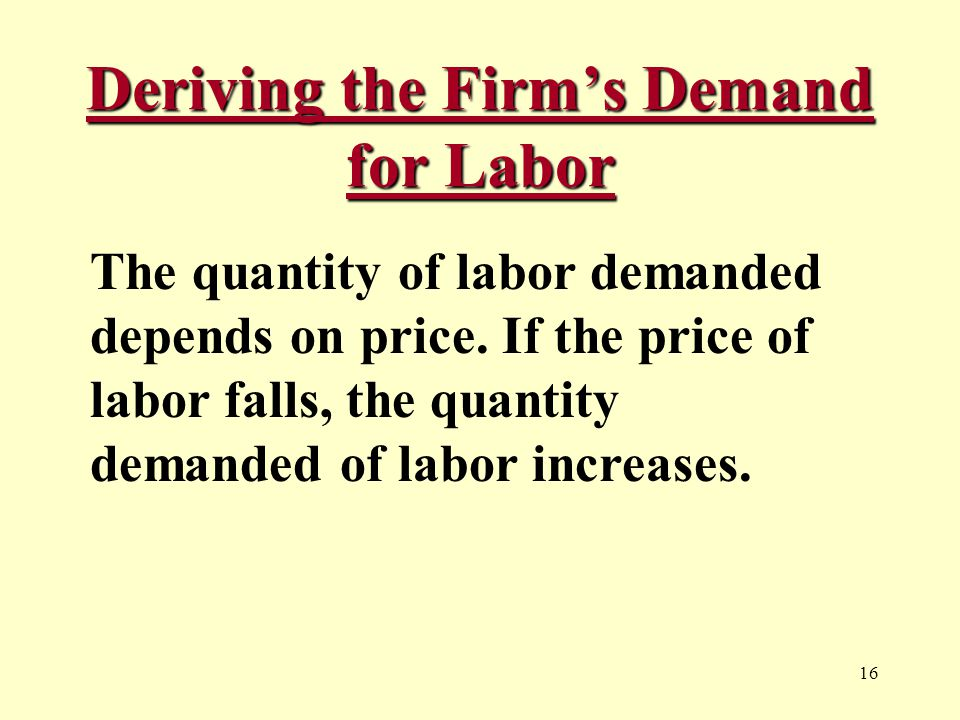 16 Deriving the Firm's Demand for Labor The quantity of labor demanded depends on price.