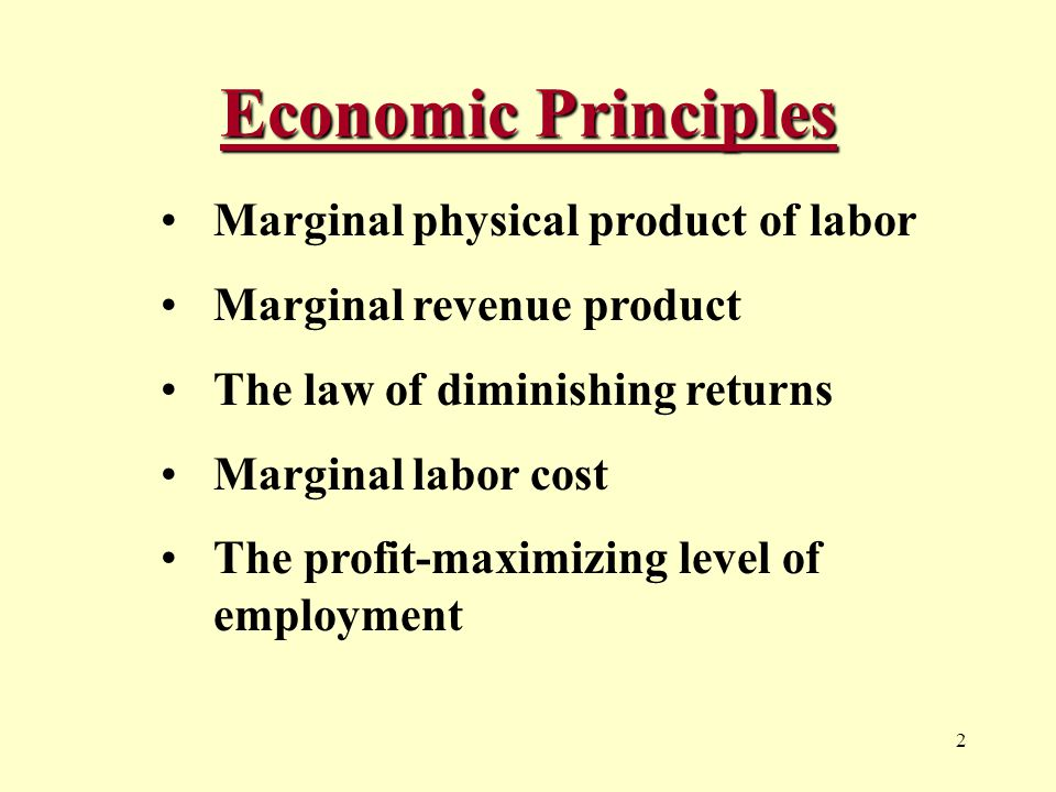 2 Economic Principles Marginal physical product of labor Marginal revenue product The law of diminishing returns Marginal labor cost The profit-maximizing level of employment