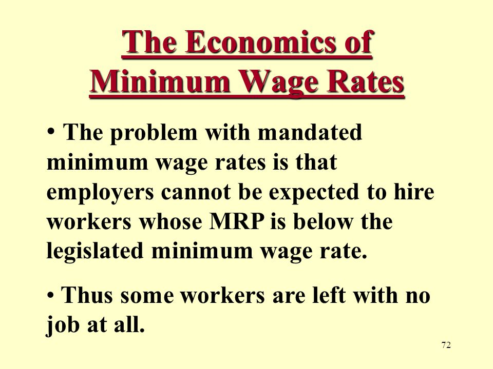 72 The Economics of Minimum Wage Rates The problem with mandated minimum wage rates is that employers cannot be expected to hire workers whose MRP is below the legislated minimum wage rate.