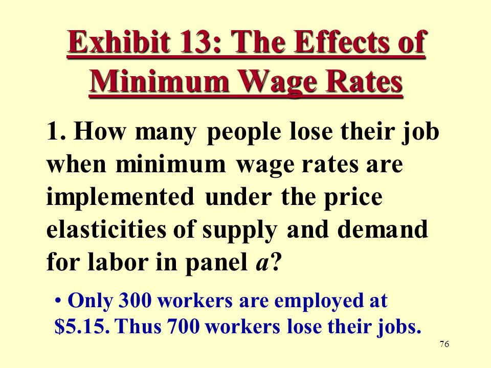 76 Exhibit 13: The Effects of Minimum Wage Rates 1.